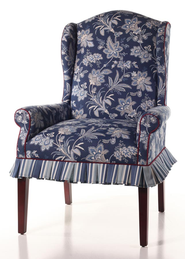 Modified Hemingway Wing Chair Has An Added Pleated Mini Skirt And A  Contrasting Welt Instead Of Nailhead Trim. Sabrina Indigo Primary Fabric  With A Amber ...