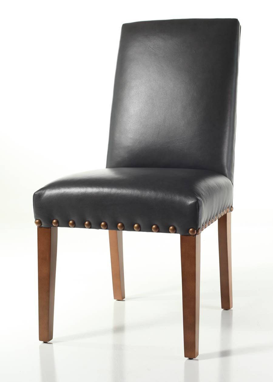 This Straight Back Dining Chair Not Only Features A Custom Finish On The Legs But Also Large French Natural Nails Around Seat And Upholstered In