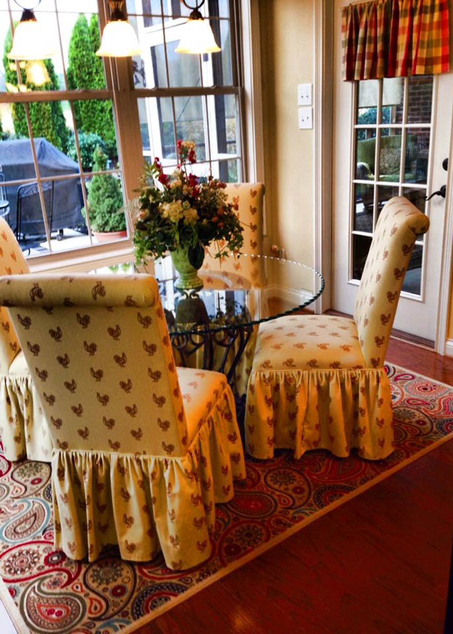 The Polly Spice Fabric On These Parsons Chairs With Gathered Skirts Gives This Room A French Country Feel