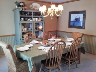 This Customer Has Used Two Skirted Parsons Chairs In Faith Rouge At The End  Of Her Table To Compliment Her Existing All Wood Side Chairs.