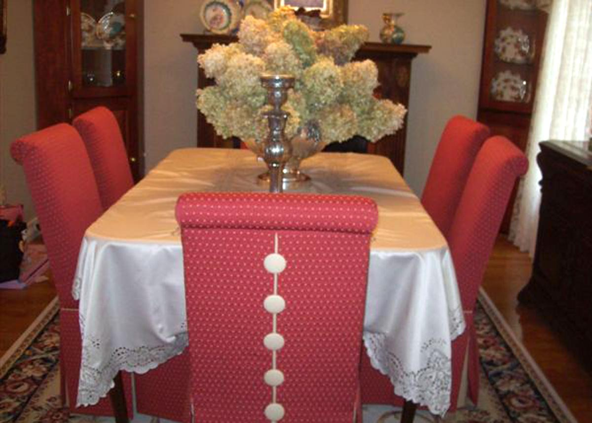 Dining Room With Burlington Parsons Chairs These Have Contrasting Buttons Welt And Skirt Blocks