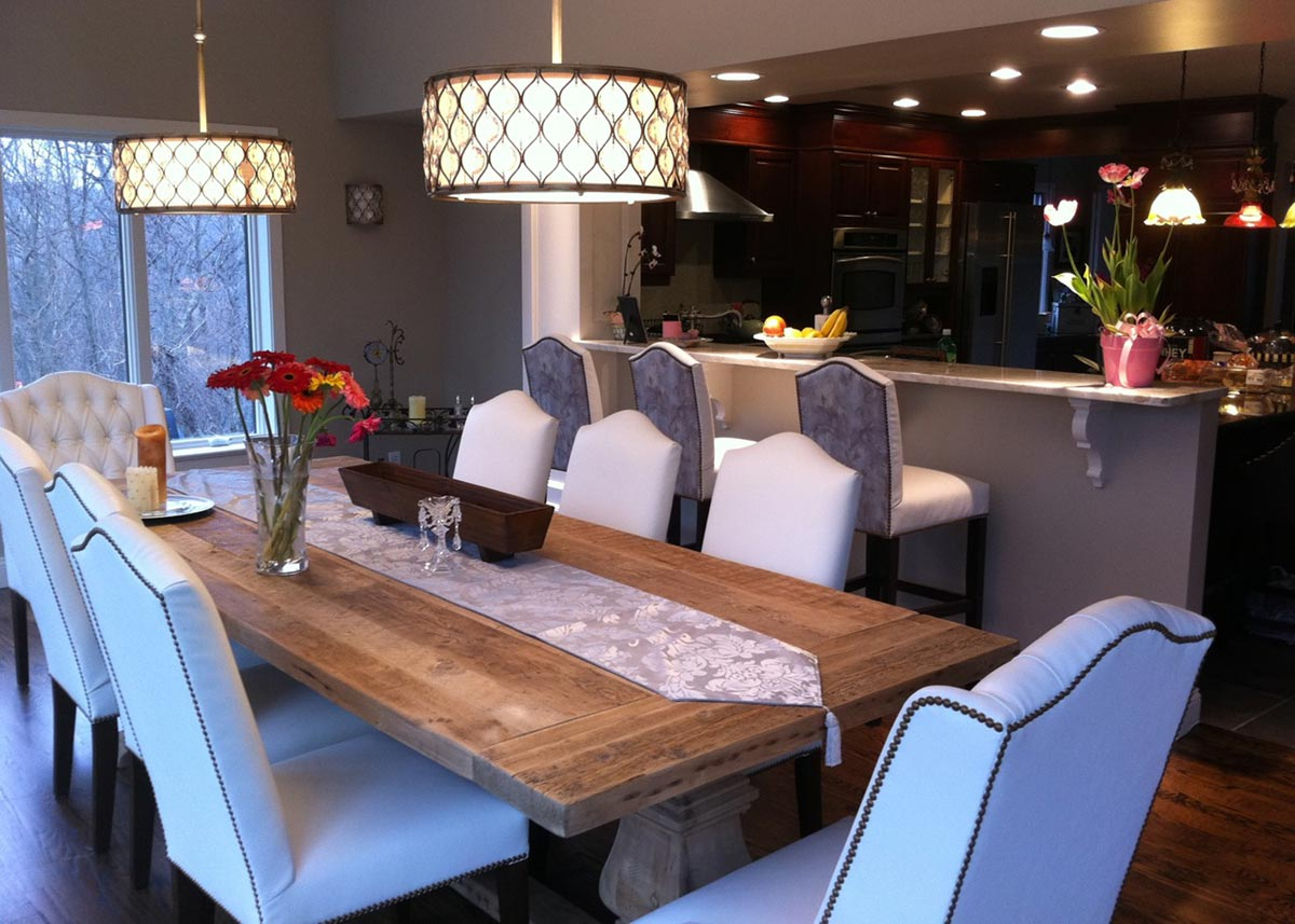 Dining Room And Bar Area With Camel Back Side Chairs Rushmore Stools Custom Host Based Upon The Norwalk Wing Chair