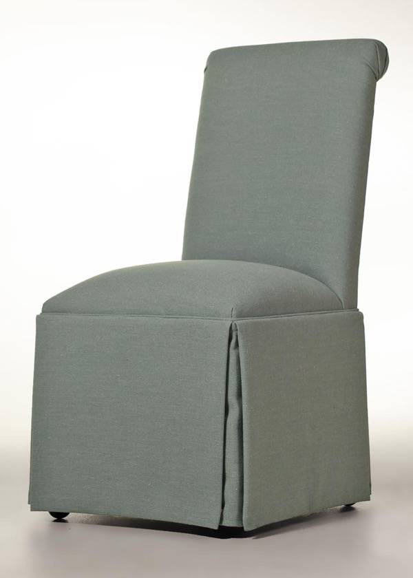 Scroll Back Parson Chair with Kick-Pleat Skirt (Angela Cloud)
