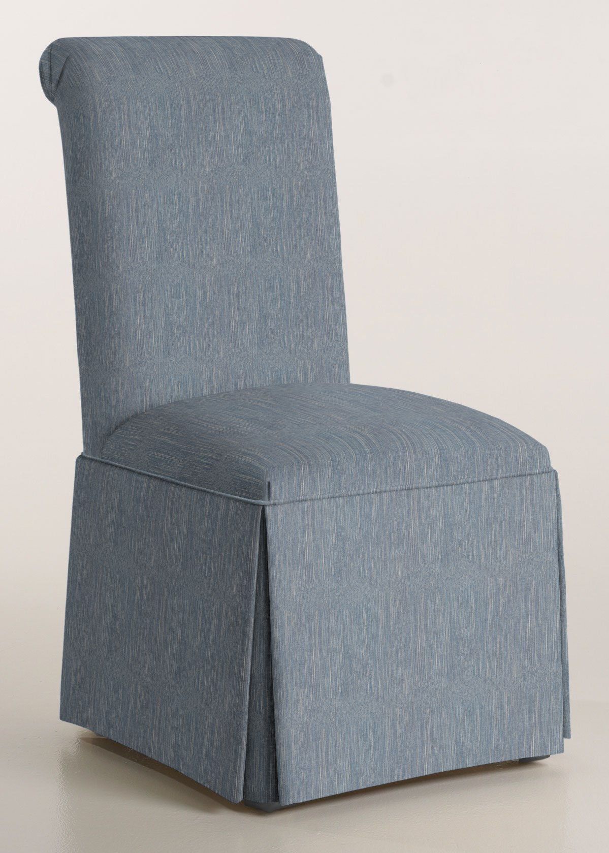 Scroll Back Parson Chair with Kick-Pleat Skirt (Trinity Denim)