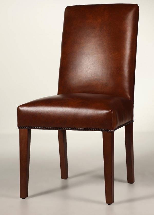 Straight Back Dining Chair with Tapered Legs & Nailhead Trim