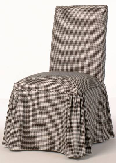 Straight Back Parsons Chair With Ruffled Pleat Skirt