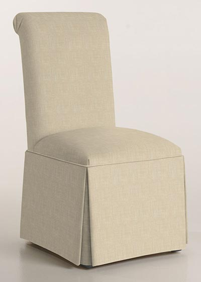Scroll Back Parson Chair with Kick-Pleat Skirt