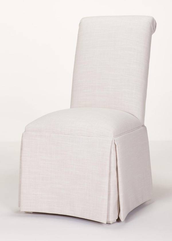 Scroll Back Parson Chair with Kick-Pleat Skirt (Quick Ship)