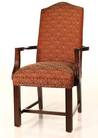Camel Back Chippendale Dining Chair with Finished Arms