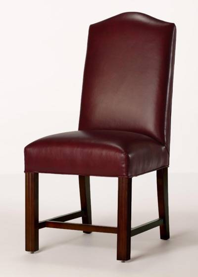 Leather Camel Back Chippendale Dining Chair with Full Seat