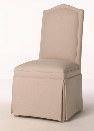 Skirted Camel Back Parsons Chair with Inset Border