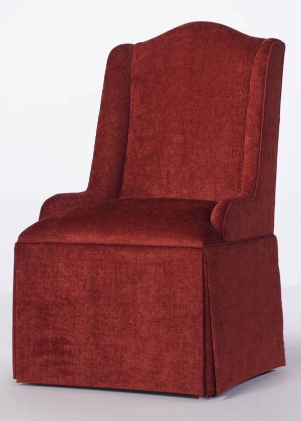 Camel Back Parsons Wing Chair With Kick Pleat Skirt