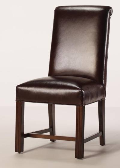 Leather Rolled Back Chippendale Dining Chair with Full Seat