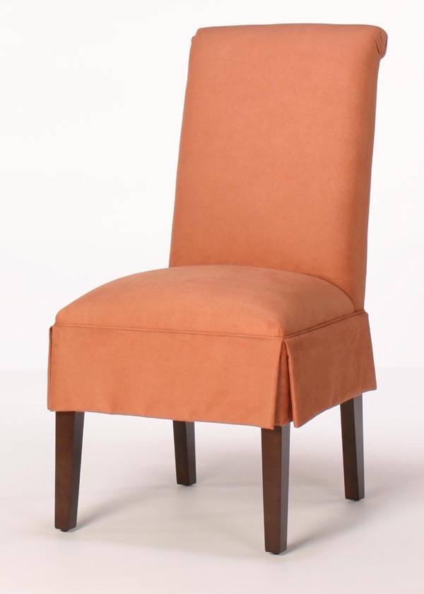Attractive Rolled Back Dining Chair With Half Skirt
