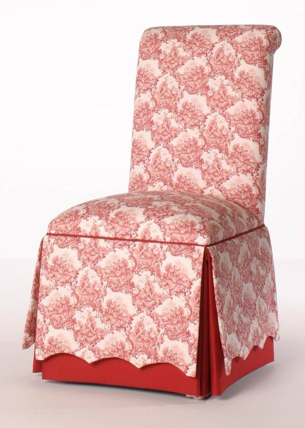 roll back parsons chair with scalloped skirt