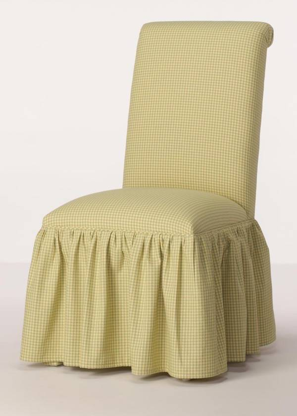 rolled back parsons chair with gathered skirt