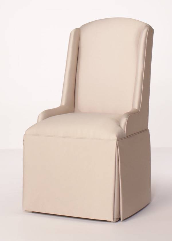 Petite Chair crescent back parsons wing chair with kick-pleat skirt