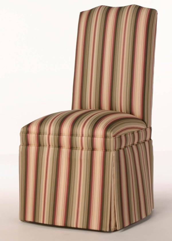 Skirted Double Camel Back Parsons Chair with Seat Border