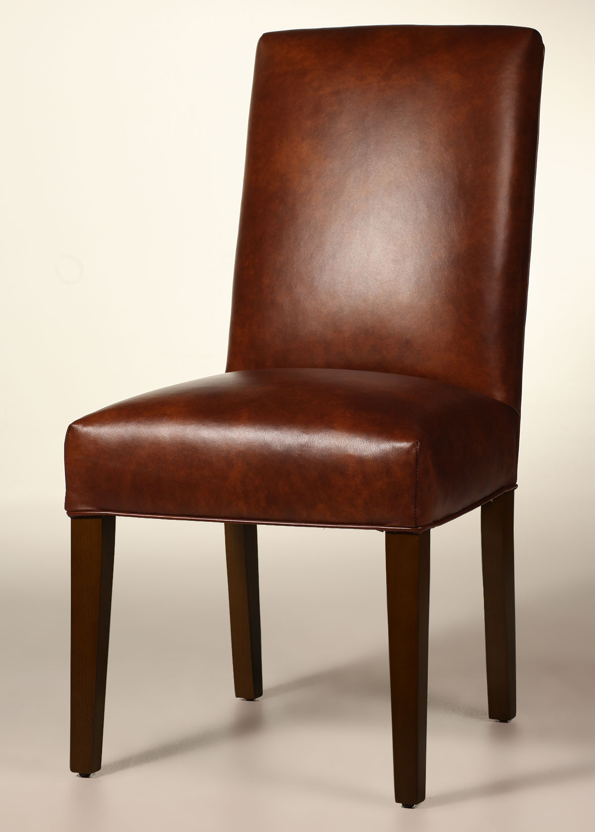 Bristol straight back leather dining chair with tapered for Leather parsons dining chair