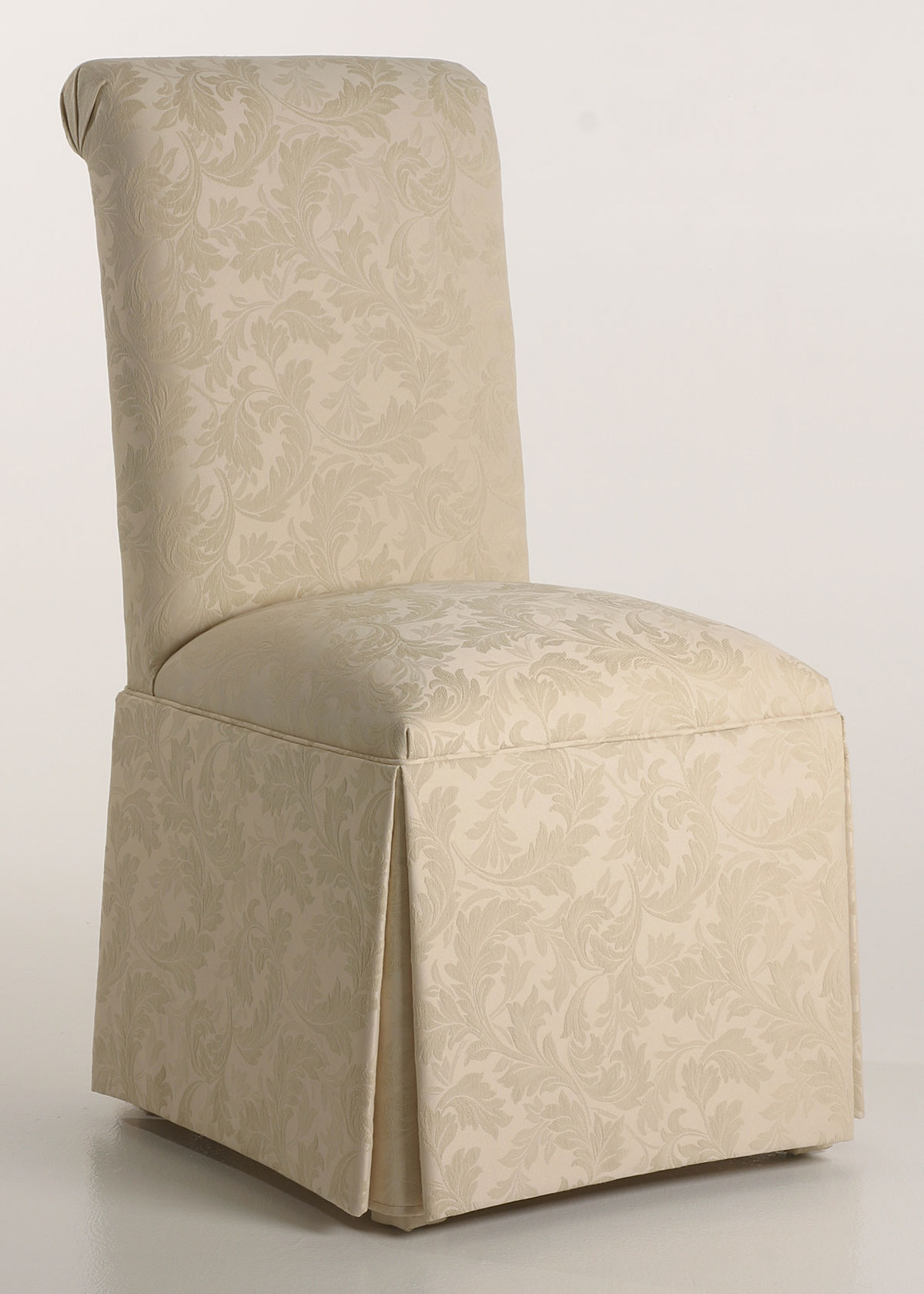 Scroll Back Parson Chair With Kick Pleat Skirt