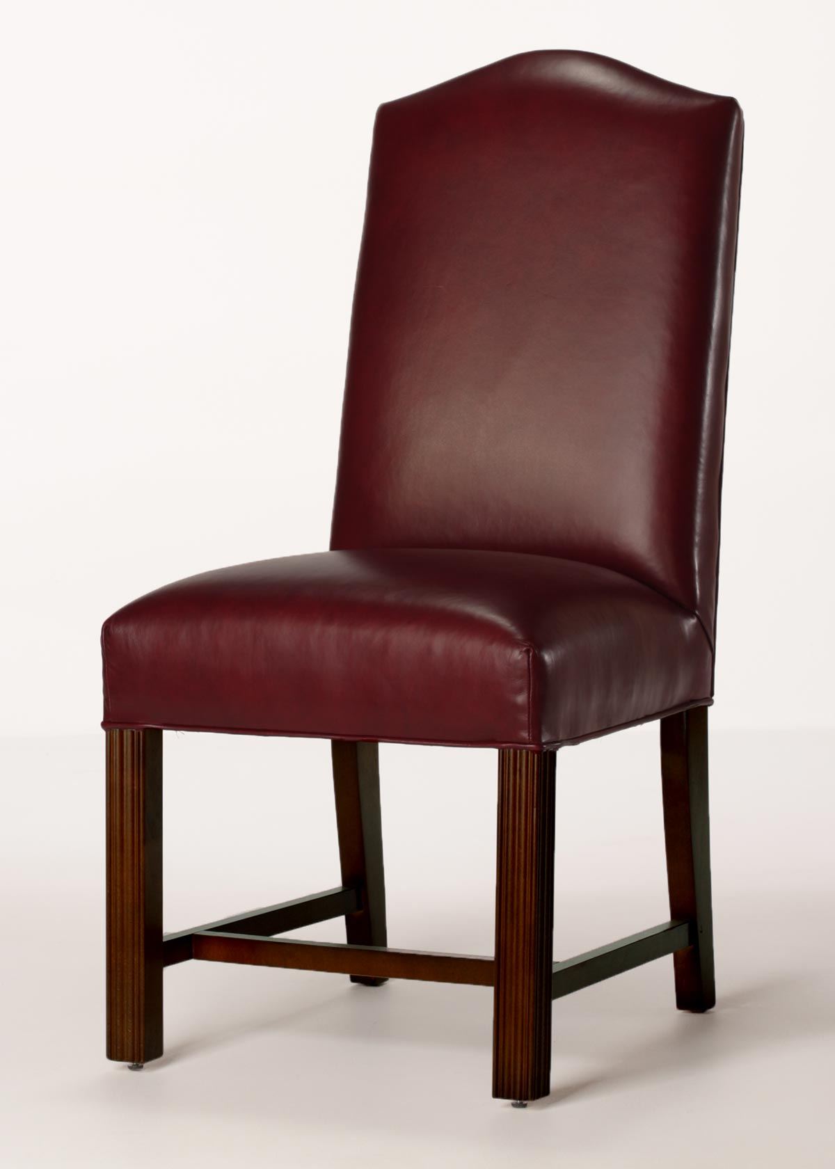 Leather camel back chippendale dining chair with full seat for Leather back dining chairs