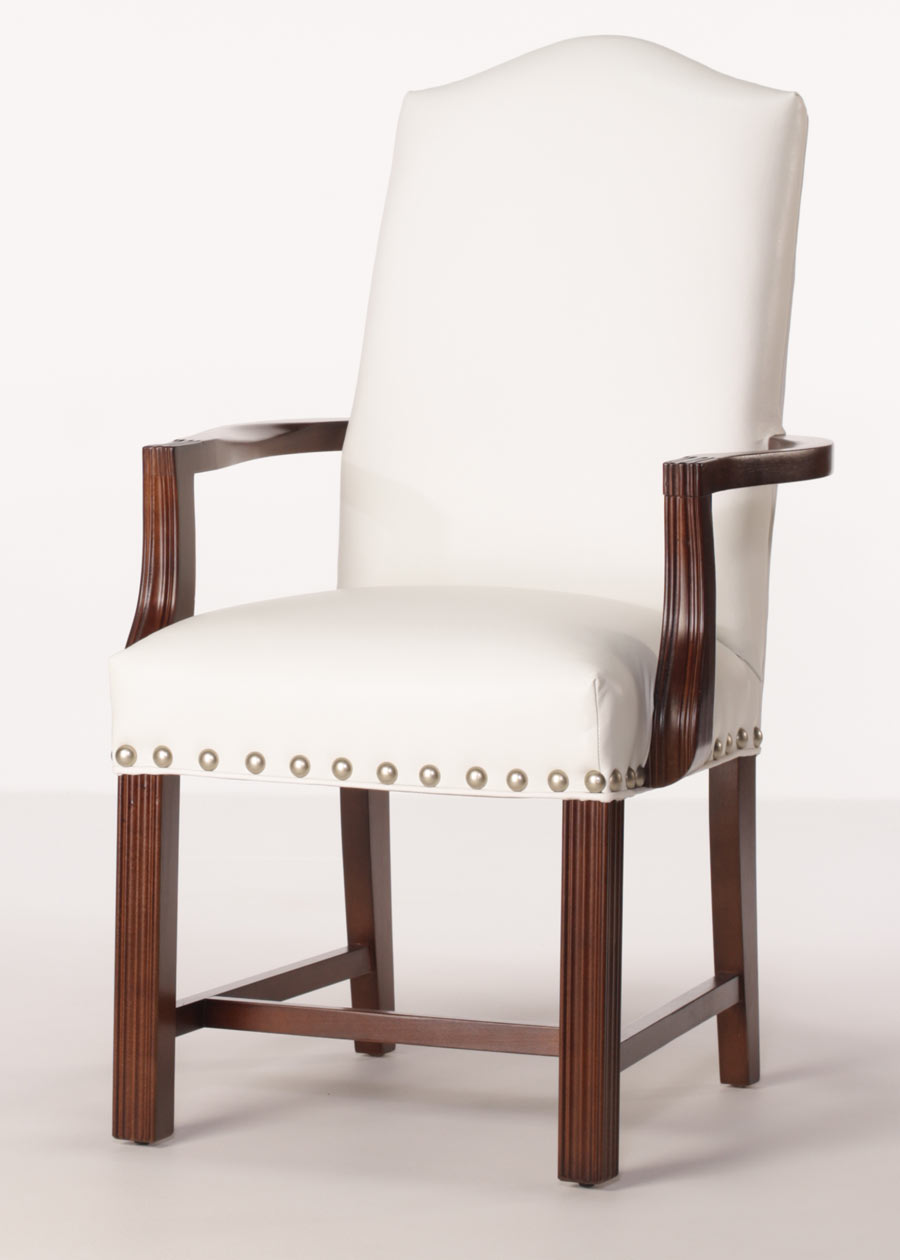 Arlington arm chair leather dining chair with finished arms for Leather dining chairs with arms