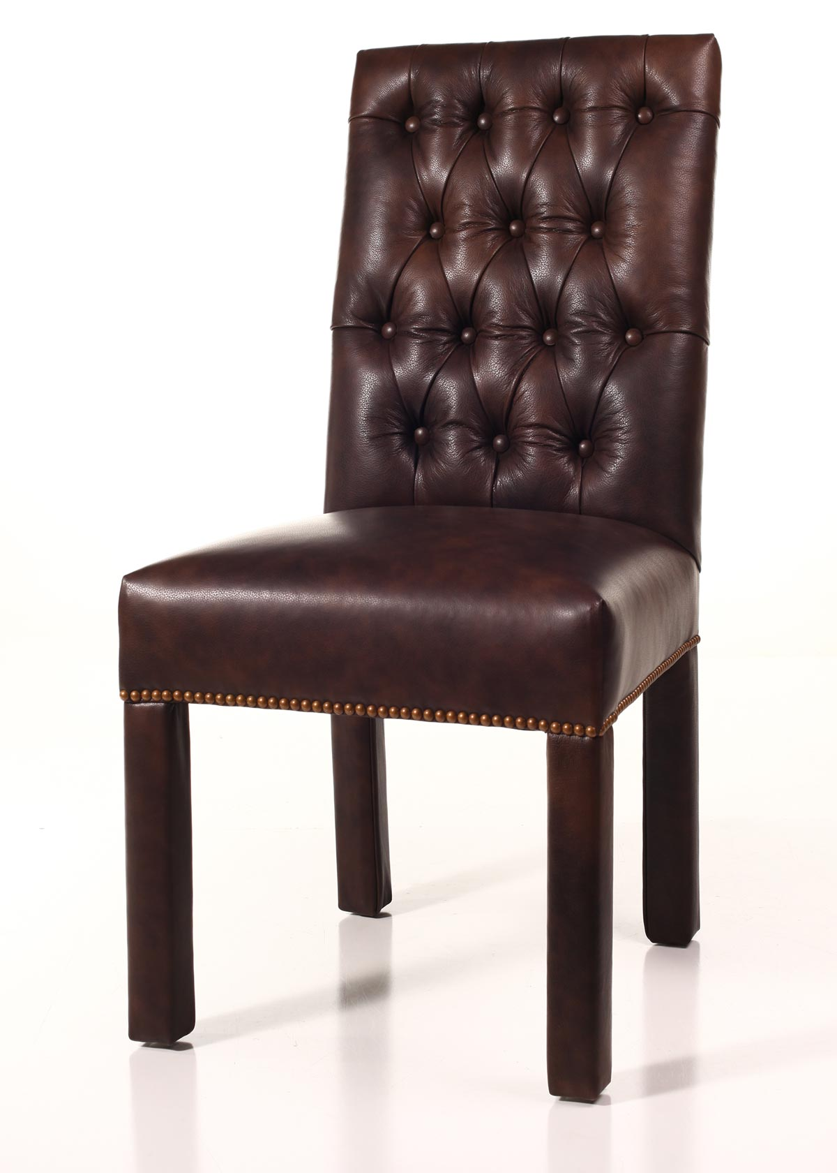Leather tufted back parsons chair for Leather parsons dining chair