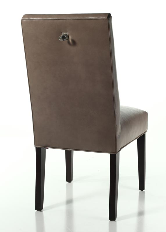 Parsons Dining Chair with knob-type drawer pull.