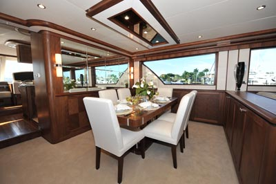 85' Ocean Explorer Yacht Dining Salon